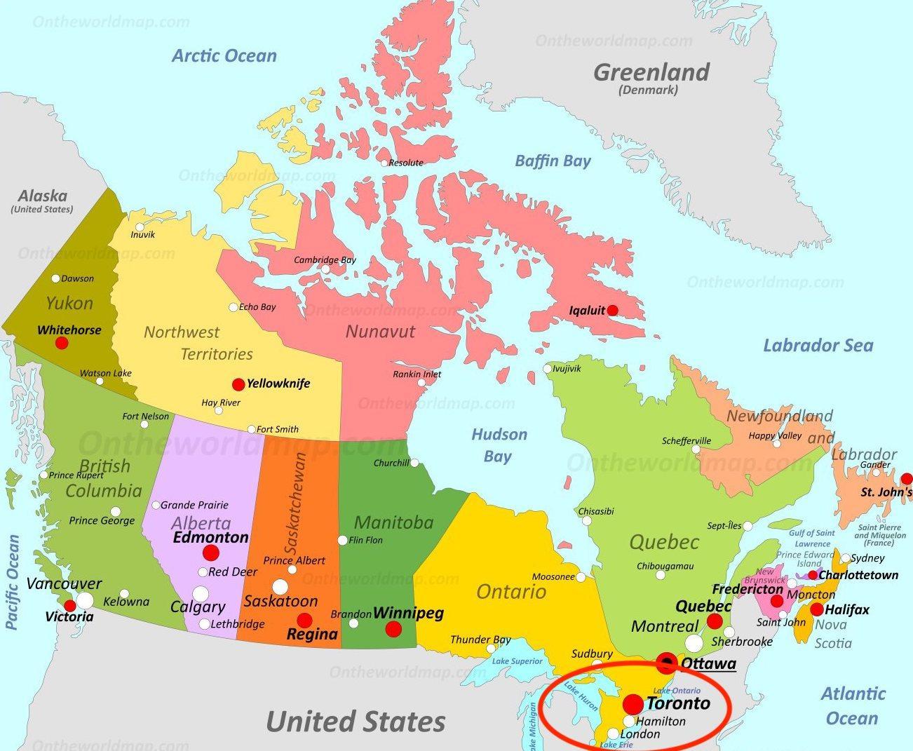 Karta Pa Kanada.Toronto Kanada Karta Karta Over Kanada Toronto Kanada