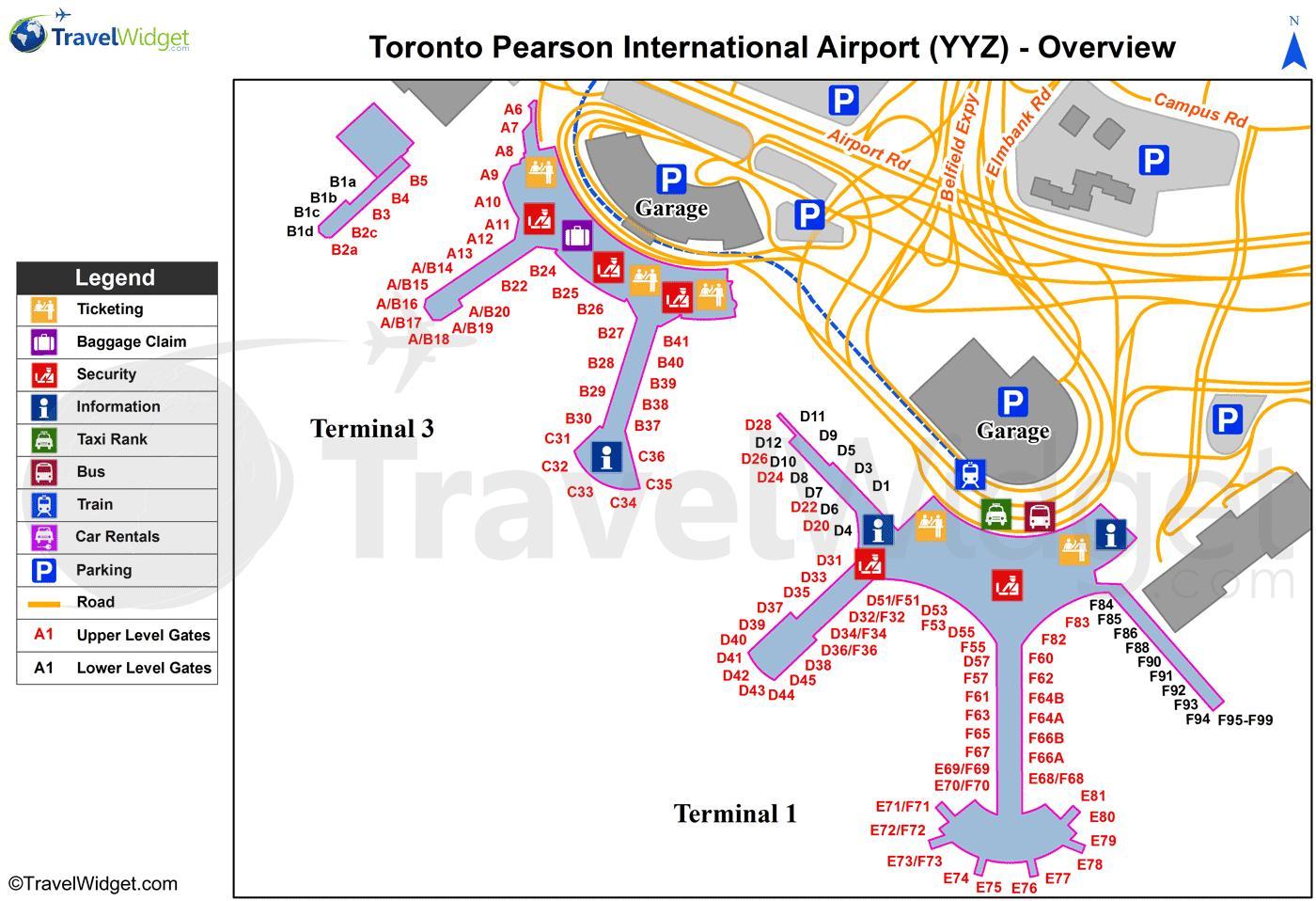 Karta Pa Kanada.Yyz Flygplats Karta Yyz Karta Kanada